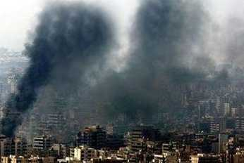 A very poorly Photoshoped picture of Beirut after a bombing that was published by Reuters