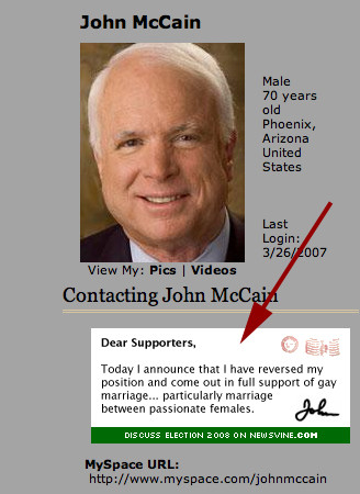 Mccain supports gay marriage