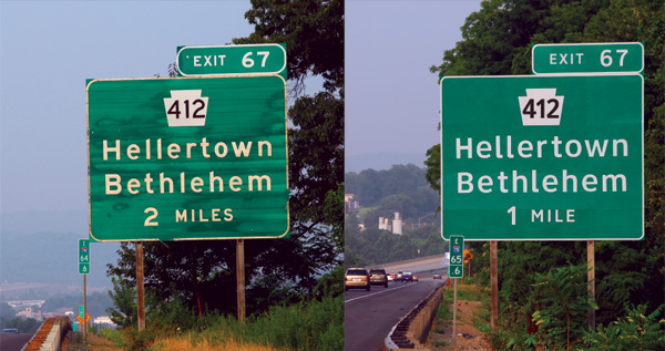 Highway Sign in Clearview Type