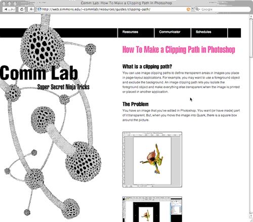 Commlab Website Clipping Path Page